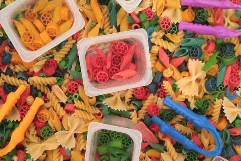 Toddler activities using dried pasta | The Dating Divas