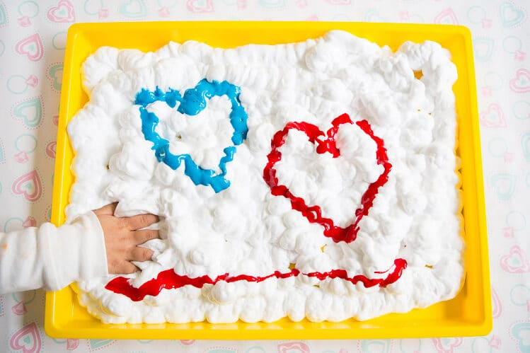 Toddler activities using shaving cream and paint | The Dating Divas