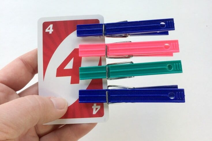 Clothespin card counting game for preschool aged children | The Dating Divas