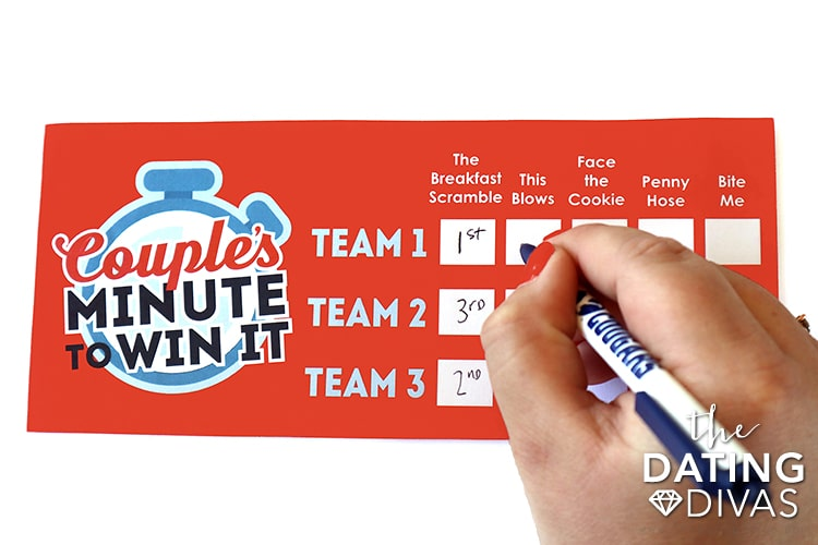 A printable scorecard for Minute to Win It Games | The Dating Divas