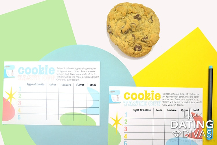 Keep score of the best cookies with our score card during a cookie taste-off date.   The Dating Divas