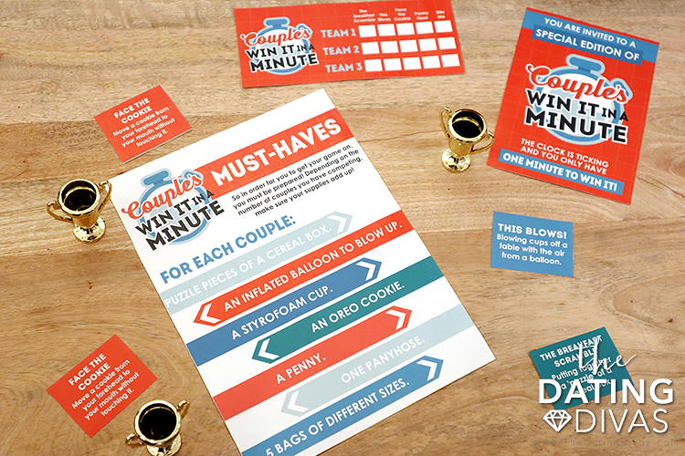 Couples Minute to Win It Supplies and Printable Cards | The Dating Divas
