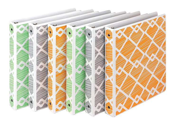 Bright colors and a fun pattern on a set of 6  binders.   The Dating Divas