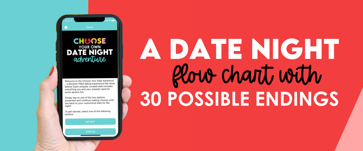 """Easy """"this or that"""" questions will lead you through a flow chart to your perfect date night adventure.   The Dating Divas"""