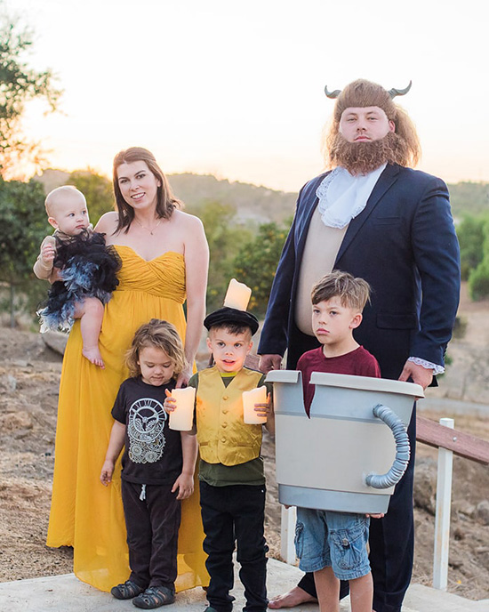 Family costume ideas for 3 or more are so fun, check out this family of 6 in their Beauty and the Beast costumes. | The Dating Divas