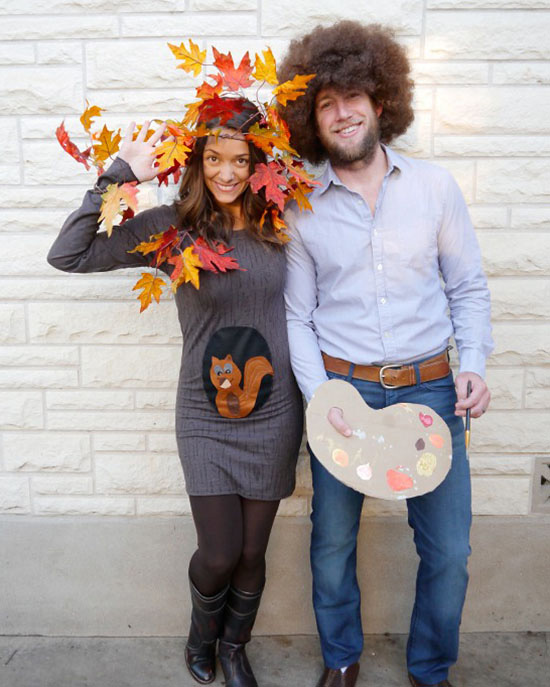 Bob Ross and his favorite happy tree make for awesome Halloween costumes. | The Dating Divas