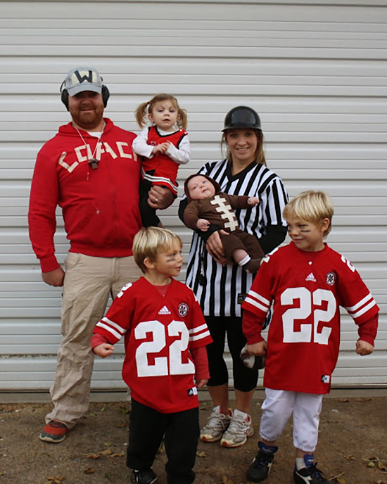 Family costumes can be themed around your favorite sport like this football costume. | The Dating Divas