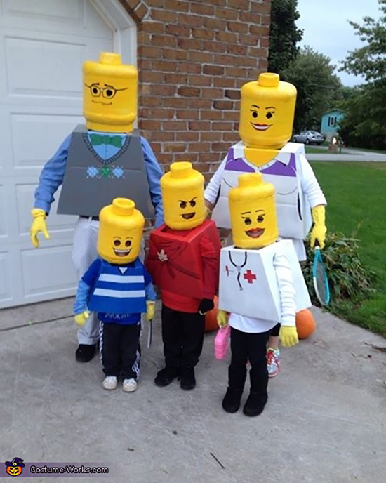 A Lego family costume can be an easy homemade costume. | The Dating Divas