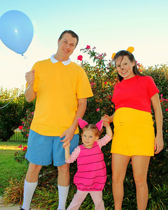 DIY family costume ideas for pregnancy and toddlers can be tough, this Winnie the Pooh costume makes it easy. | The Dating Divas