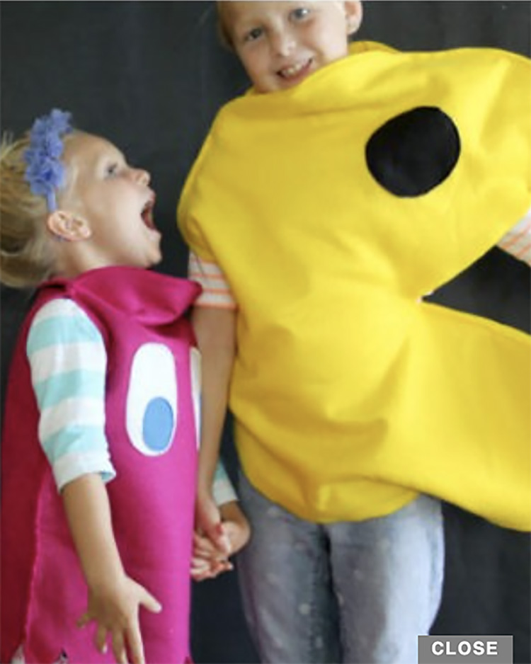 Pac Man vs the ghosts is a fun sibling and family costume idea.