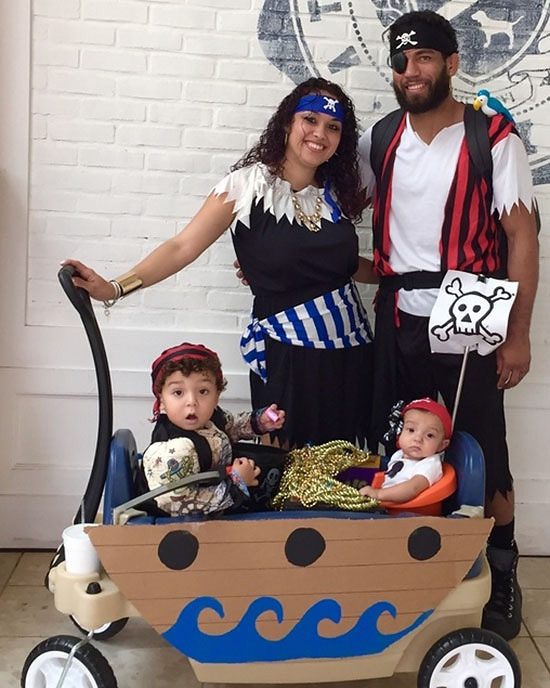 Use a wagon as a boat for pirate family costume ideas. | The Dating Divas