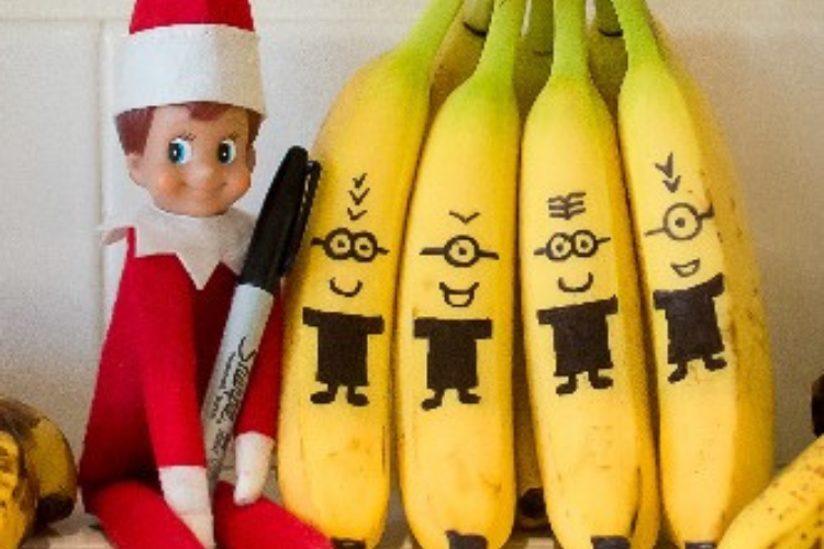 Elf on the Shelf draws minions on bananas   The Dating Divas