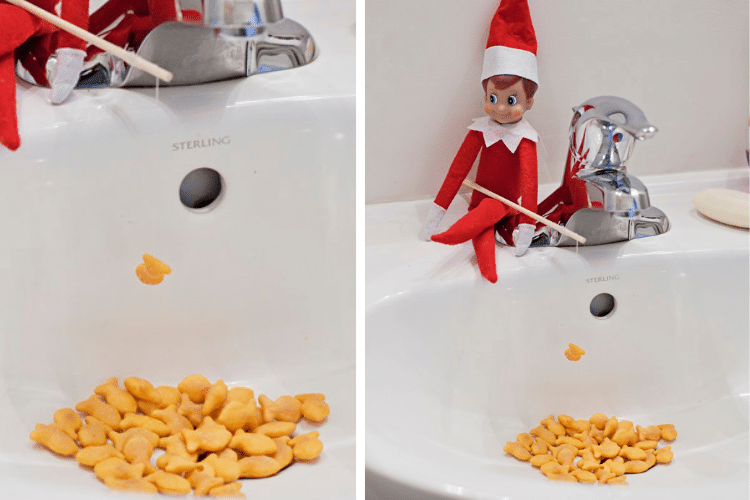 Elf on the shelf fishing in the sink for goldfish crackers   The Dating Divas