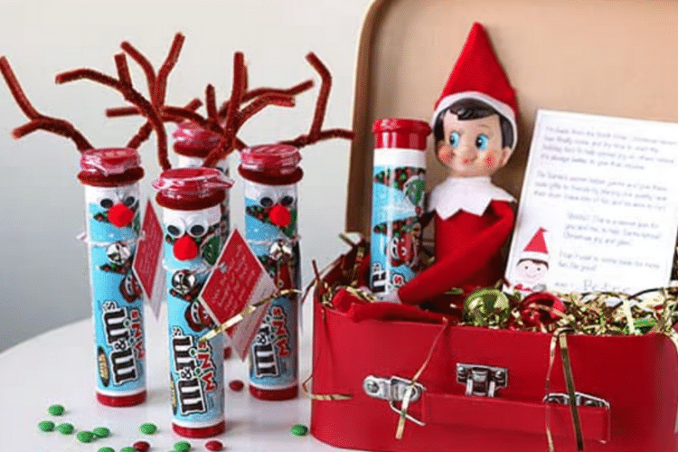 Elf on the shelf with m&m tube crafted into a reindeer   The Dating Divas
