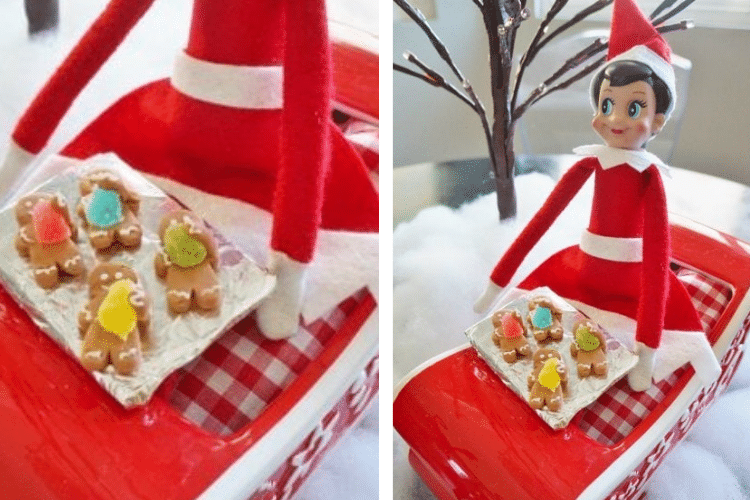 Elf on the shelf with some tiny miniature gingerbread men   The Dating Divas