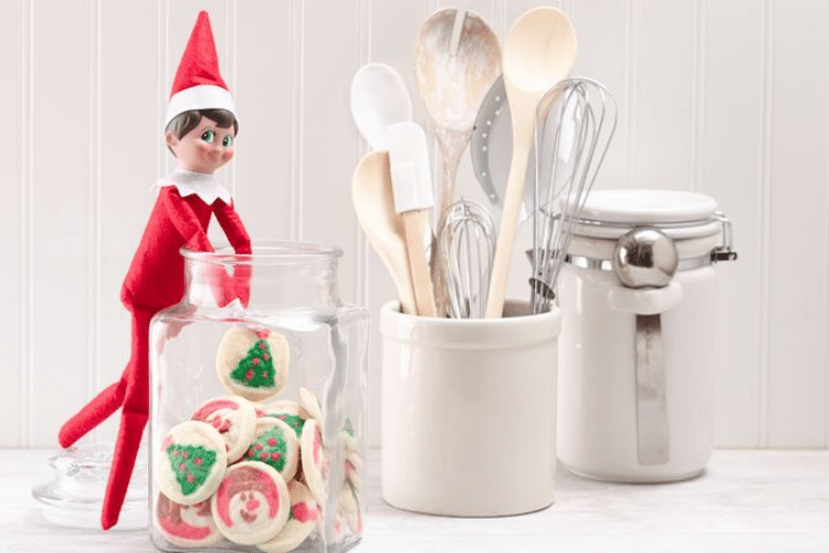 Elf on the shelf stealing cookie from jar   The Dating Divas