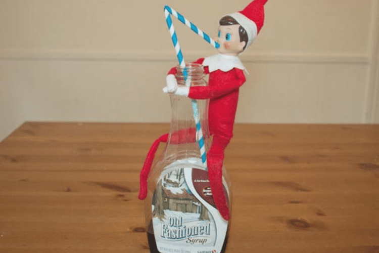 Elf on the shelf drinking syrup   The Dating Divas