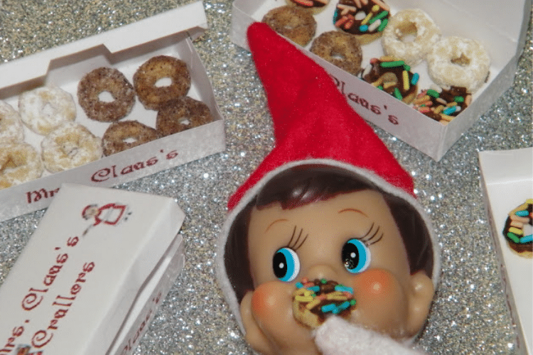 Elf on the shelf eats donuts   The Dating Divas