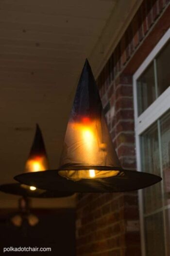 DIY Halloween Decorations, Floating Witch Hat Luminaries | The Dating Divas