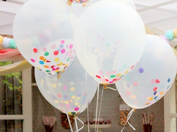 Confetti added into see-through balloons for a colorful birthday decoration idea | The Dating Divas