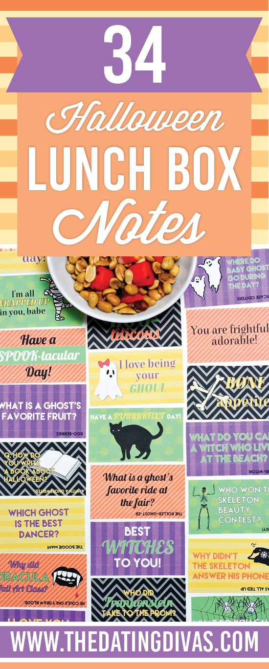 Printable Halloween lunch box notes and jokes.