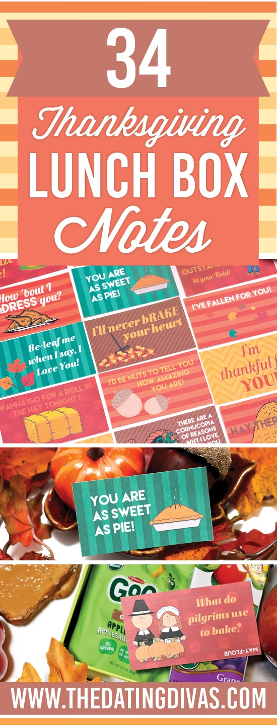 Printable Thanksgiving lunch box notes and jokes.