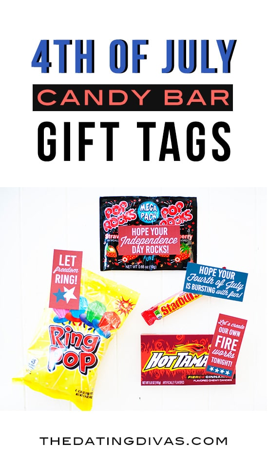 4th of July Candy Bar Gift Tags! Free printables from The Dating Divas