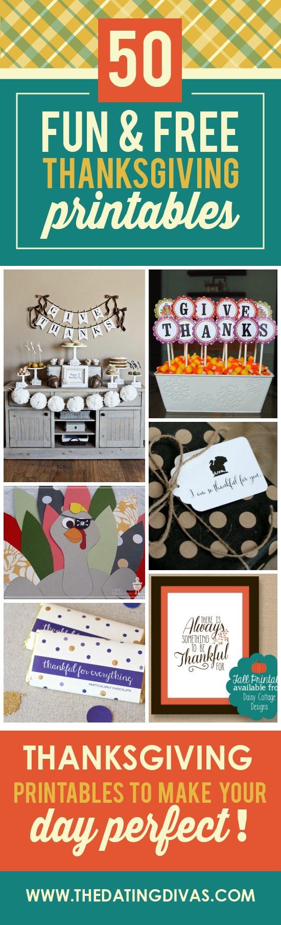 50 fun thanksgiving printables