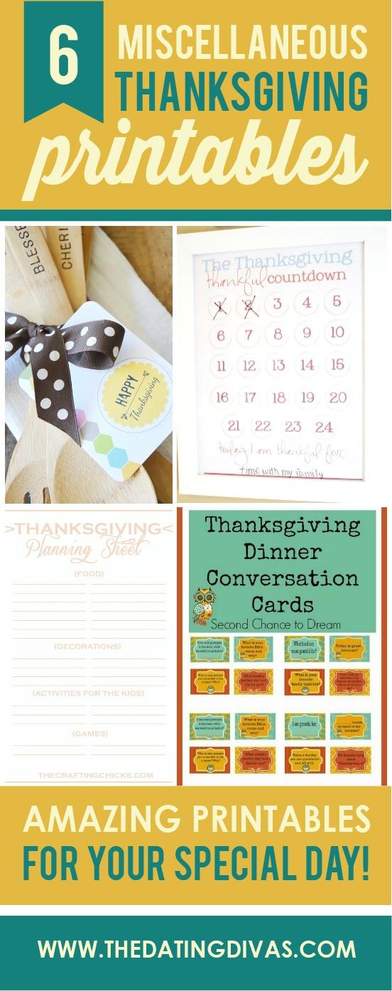 6 miscellaneous thanksgiving printables