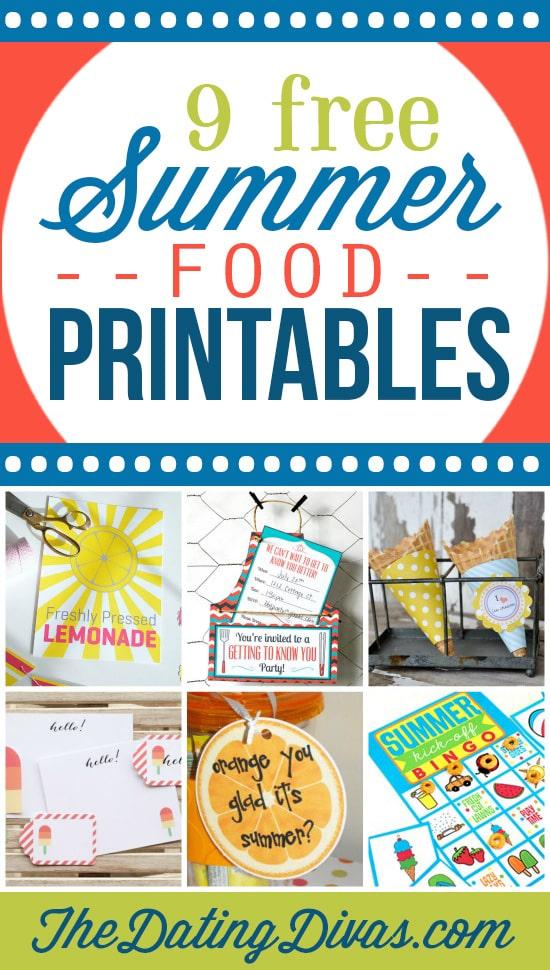 9 printables for summer food