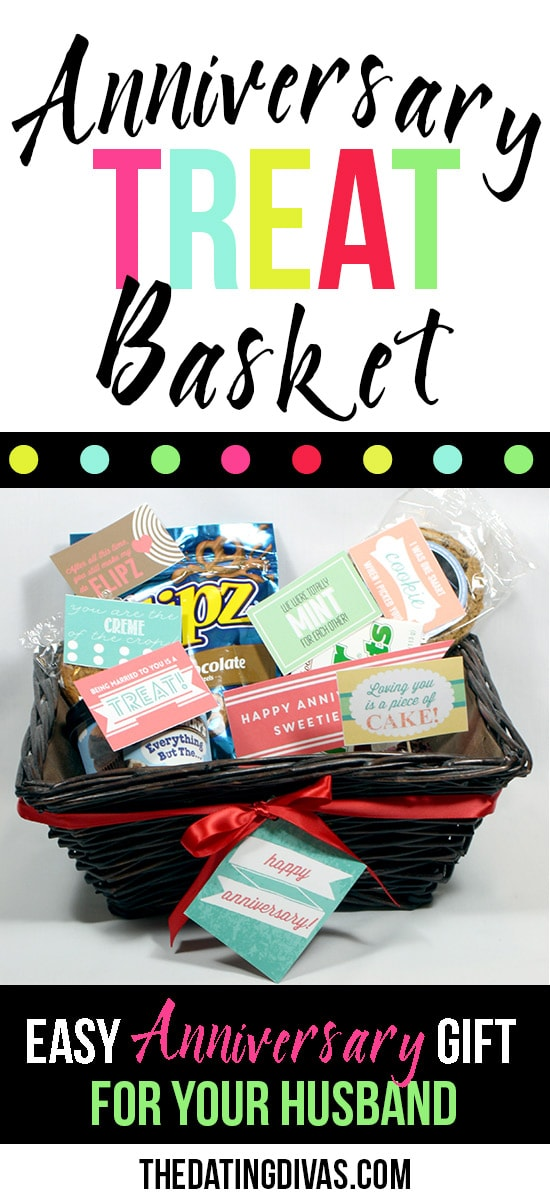 Fun Anniversary Gift Basket- with free printable love notes!