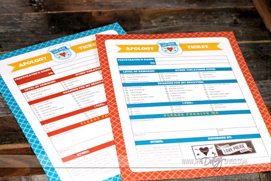 Apology Ticket Free Printables