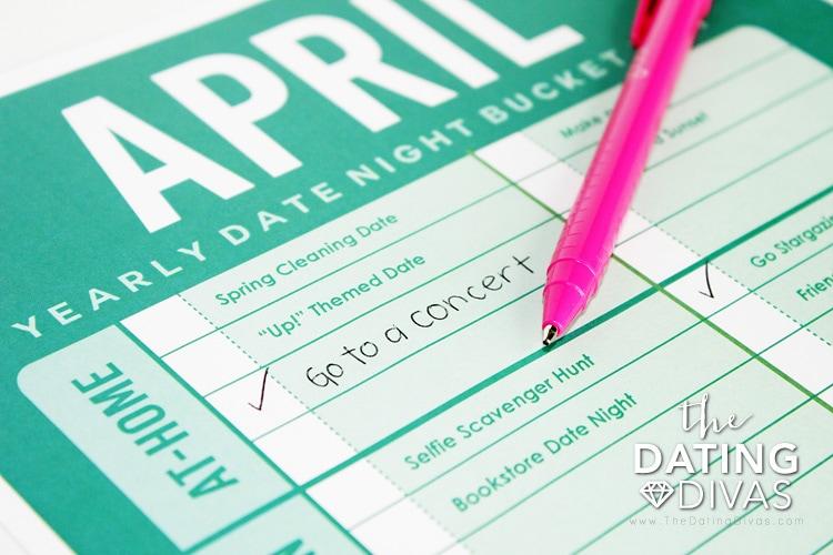 April Date Night Bucket Lists Ideas