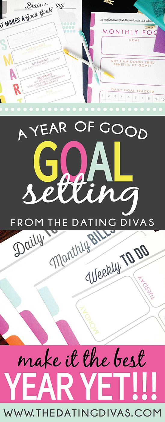 New Year Goals Printable pack! These are some awesome ideas to make this year rock from www.thedatingdivas.com #TheDatingDivas