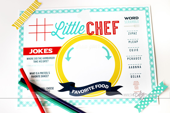 Babysitter Cooking Kit Printable Placemat