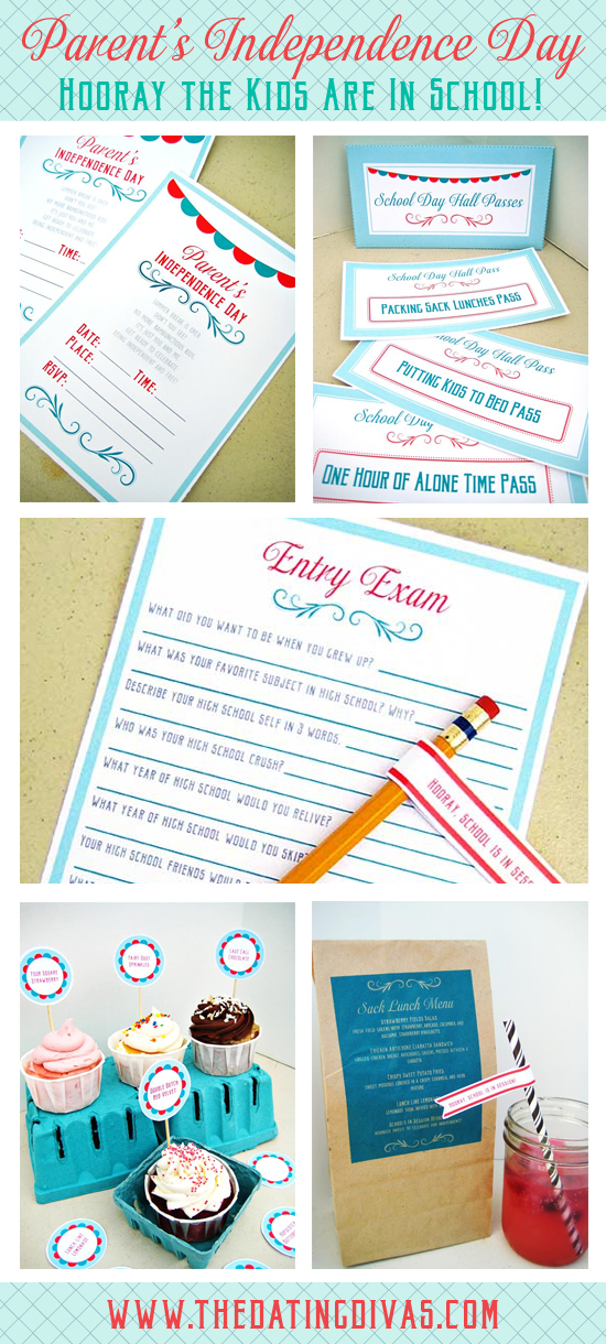 Back to School Couples Lunch Date Party Printable Kit