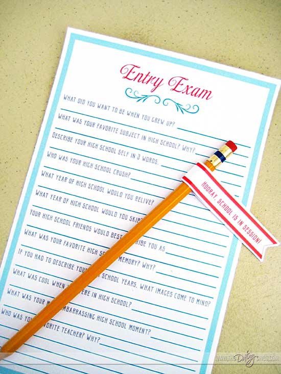 Back to School Party Couples Quiz Printables
