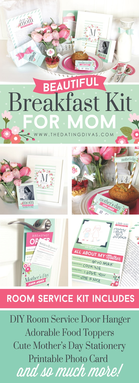 Beautiful Mother's Day breakfast in bed printable kit! Everything you need and more for the perfect Mother's Day morning. #TheDatingDivas #BreakfastInBed
