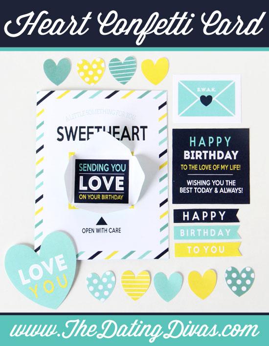 Birthday Confetti Heart Card
