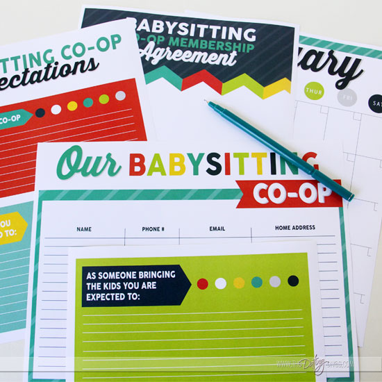 Babysitting co-op blank printables