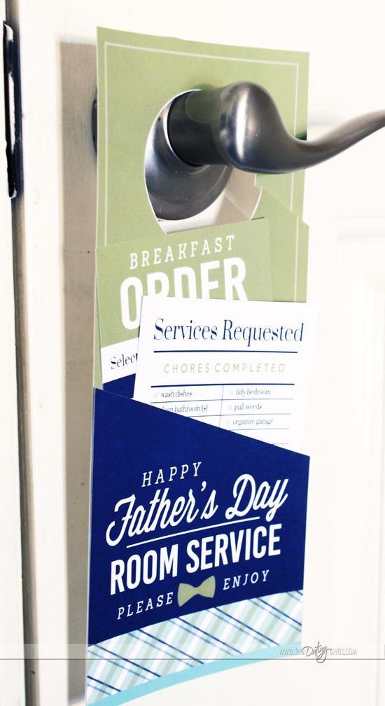 Breakfast in Bed Room Service Door Hanger for Father's Day