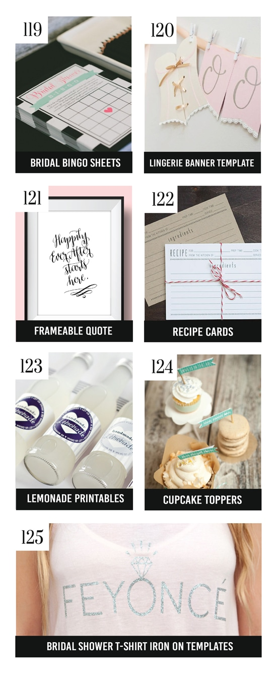 25 Free Bridal Shower Printables