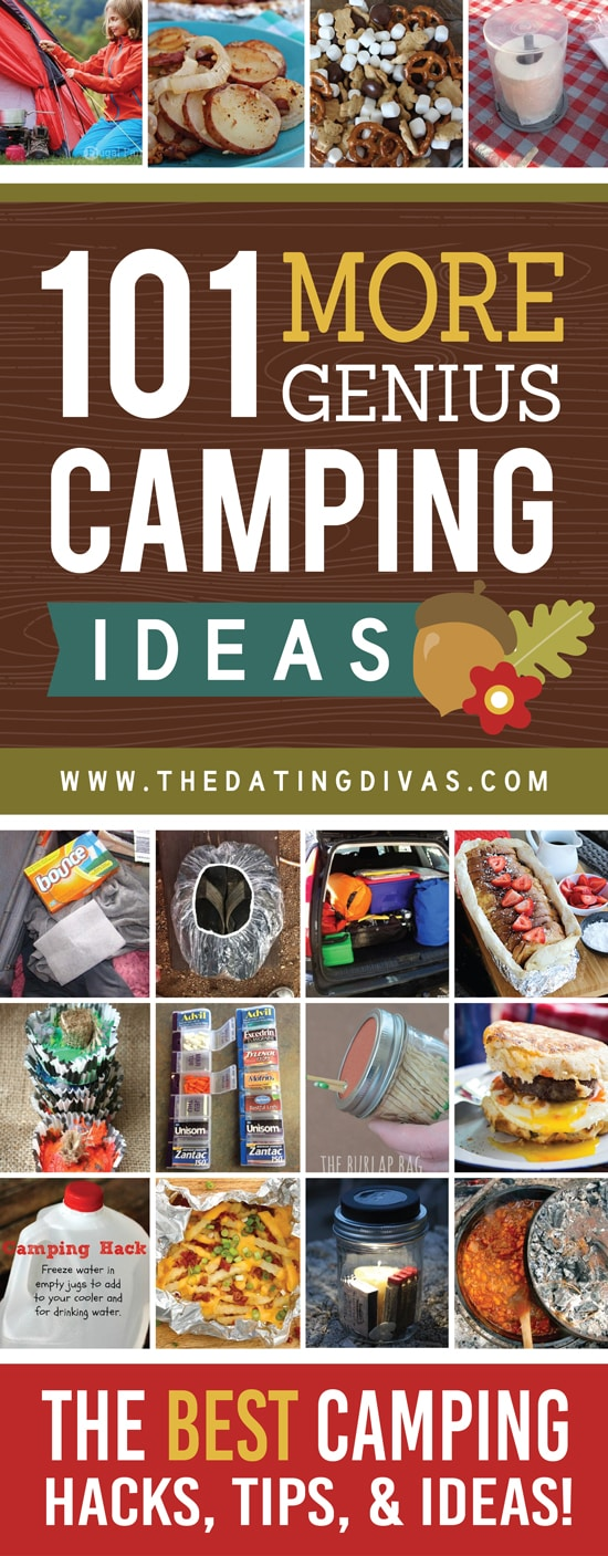 So many absolutely genius camping ideas all in one place! Things like fun things to bring camping and camping organization ideas galore! Saving this for SURE! #TheDatingDivas #CampingIdeas #Camping