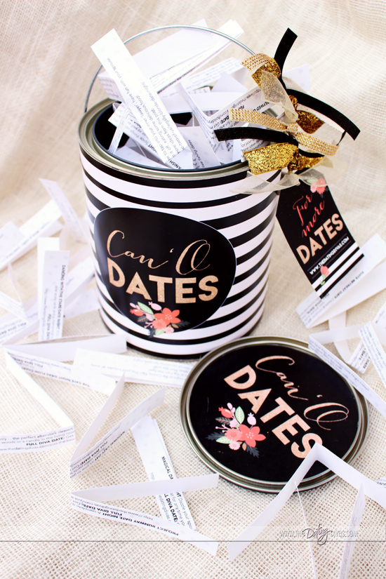 Can O' Dates Gold and Black Printables
