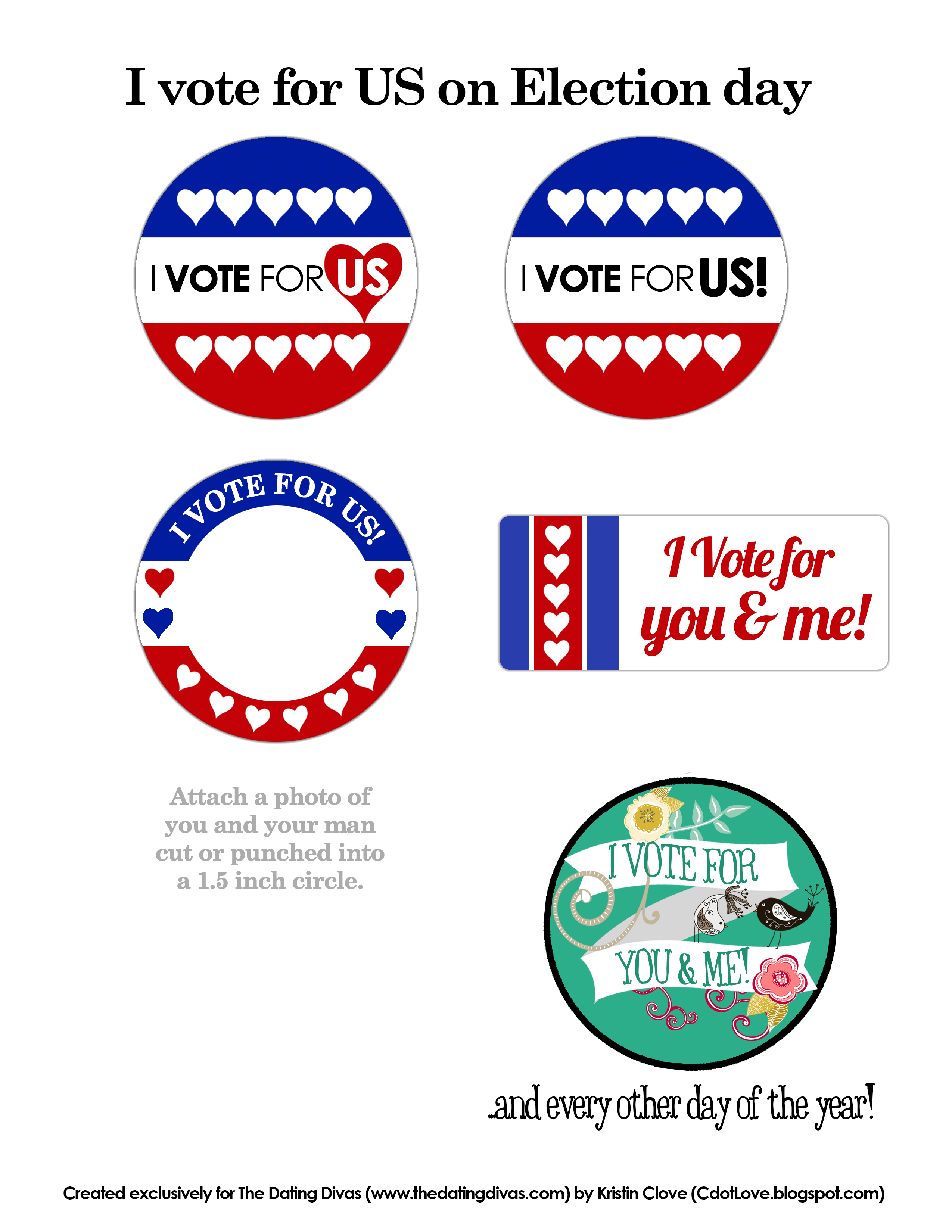 Printable Vote for Me Buttons