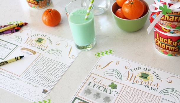 Top of the Morning to You Printable Placemats