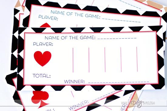 Casino Date Night Score Card