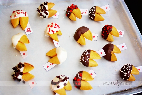 Make your own chocolate-dipped Valentine fortune cookies