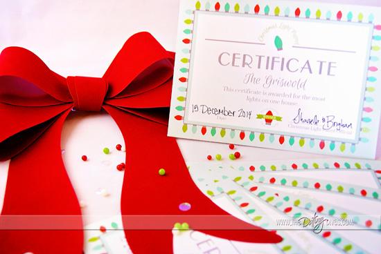 Christmas Light Date Night Award Certificate