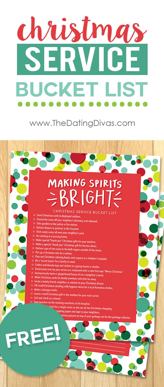 Free Printable Christmas Service Bucket List